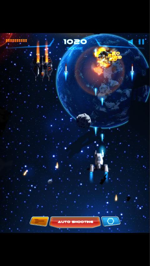 开始游戏 全屏游戏 通过触屏移动控制飞机飞行,点击导弹按钮发射高爆